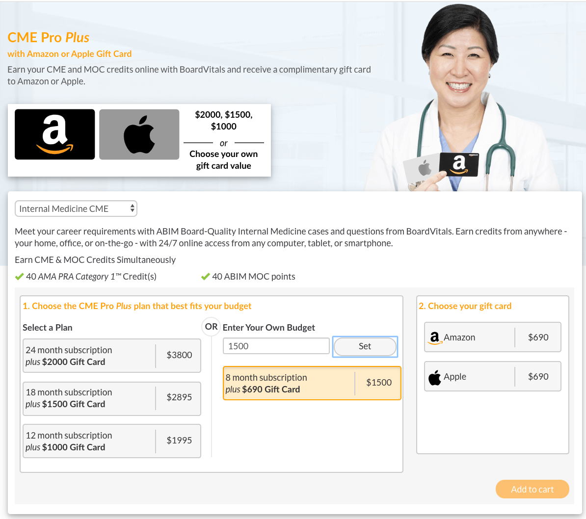 BoardVitals with Amazon Gift Card Options